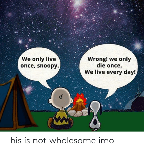 Live, Snoopy, and Wholesome: We only live  once, snoopy.  Wrong! we only  die once.  We live every day! This is not wholesome imo