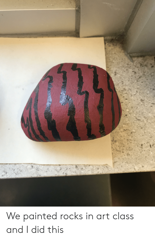 And I Did, Art, and Class: We painted rocks in art class and I did this