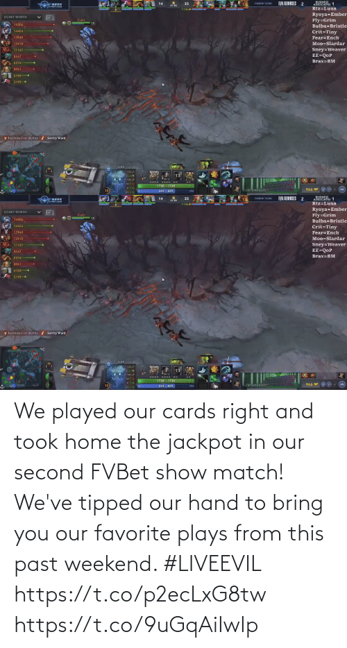 Match: We played our cards right and took home the jackpot in our second FVBet show match! We've tipped our hand to bring you our favorite plays from this past weekend. #LIVEEVIL  https://t.co/p2ecLxG8tw https://t.co/9uGqAiIwIp