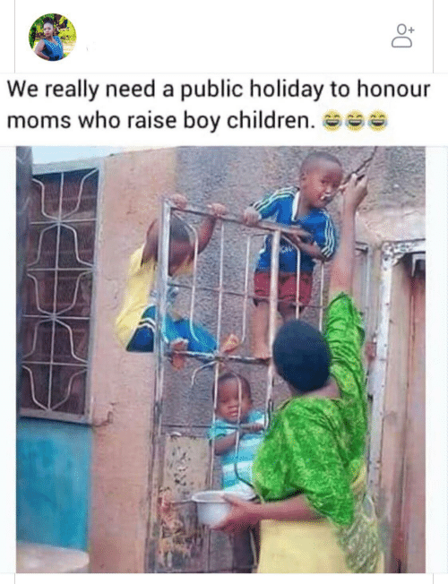 public: We really need a public holiday to honour  moms who raise boy children. se