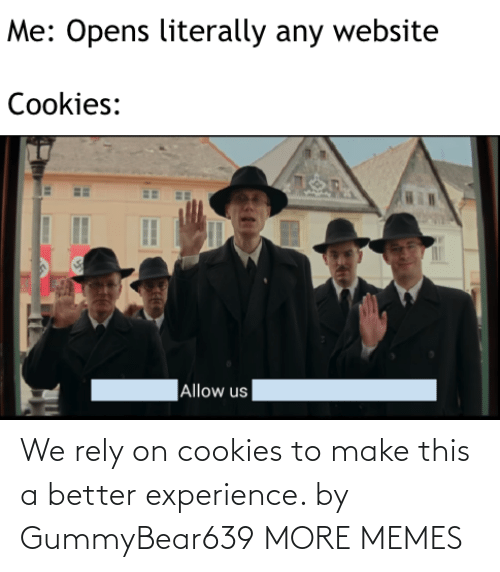 Cookies, Dank, and Memes: We rely on cookies to make this a better experience. by GummyBear639 MORE MEMES