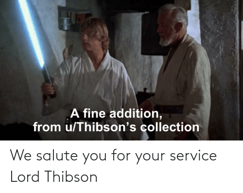 Salute: We salute you for your service Lord Thibson