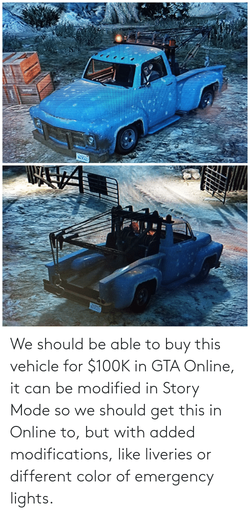 lights: We should be able to buy this vehicle for $100K in GTA Online, it can be modified in Story Mode so we should get this in Online to, but with added modifications, like liveries or different color of emergency lights.