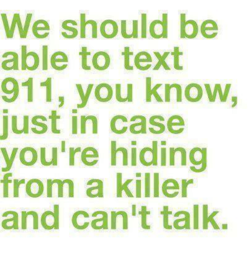 Memes, Text, and 🤖: We should be  able to text  911, you know,  just in case  you're hiding  from a killer  and can't talk.