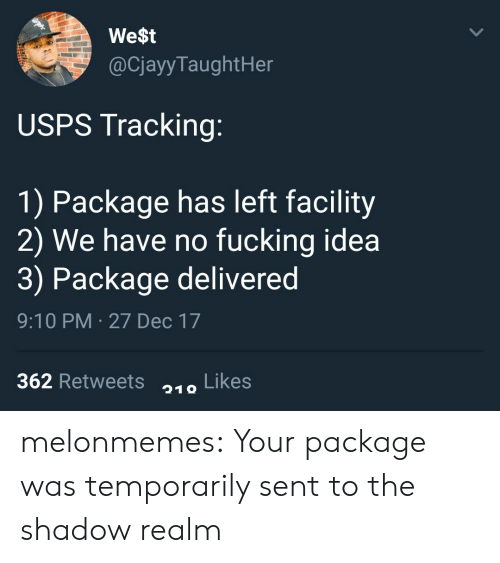 Fucking, Target, and Tumblr: We$t  @CjayyTaughtHer  USPS Tracking:  1) Package has left facility  2) We have no fucking idea  3) Package delivered  9:10 PM 27 Dec 17  362 Retweets Likes  219 melonmemes:  Your package was temporarily sent to the shadow realm