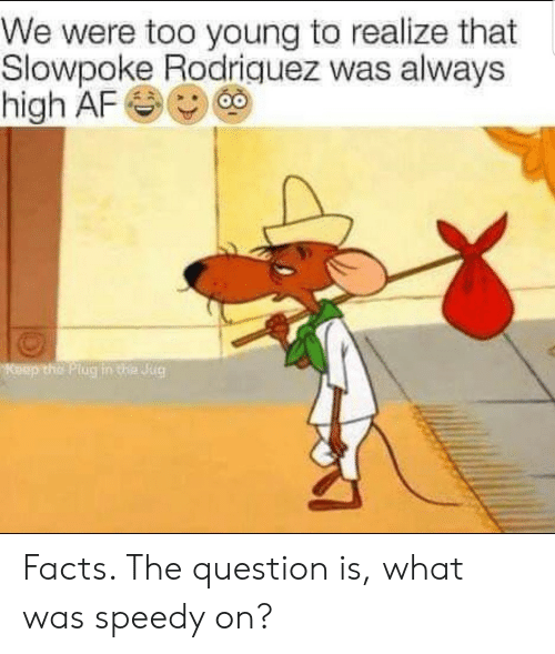 Af, Facts, and High AF: We were too young to realize that  Slowpoke Rodriquez was always  high AF  Keep the Plug in te Jug Facts. The question is, what was speedy on?