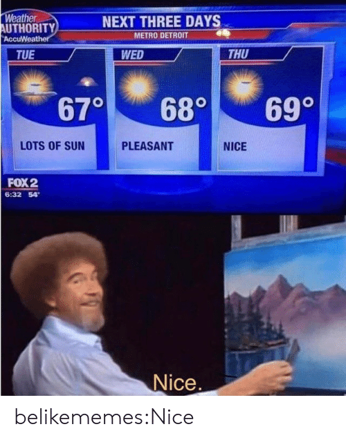 Detroit: Weather  AUTHORITY  AccuWeather  NEXT THREE DAYS  METRO DETROIT  THU  TUE  WED  670  69°  68°  LOTS OF SUN  PLEASANT  NICE  FOX2  6:32 54  Nice. belikememes:Nice