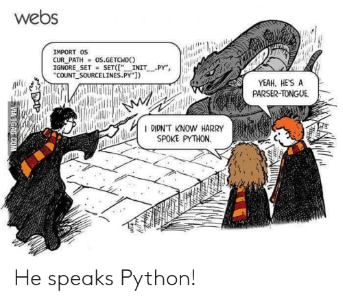 "import: webs  IMPORT OS  CUR PATH  IGNORE SET SET("" INIT PY""  ""COUNT SOURCELINES.PY"")  os.GETCWD  YEAH, HE'S A  PARSER-TONGUE  R DIDNT KNOW HARRY  SPOKE PYTHON  VIA 9GAG COM He speaks Python!"