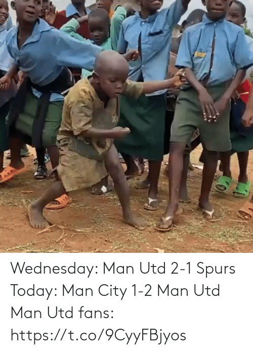 Memes, Spurs, and Today: Wednesday: Man Utd 2-1 Spurs   Today: Man City 1-2 Man Utd  Man Utd fans:  https://t.co/9CyyFBjyos
