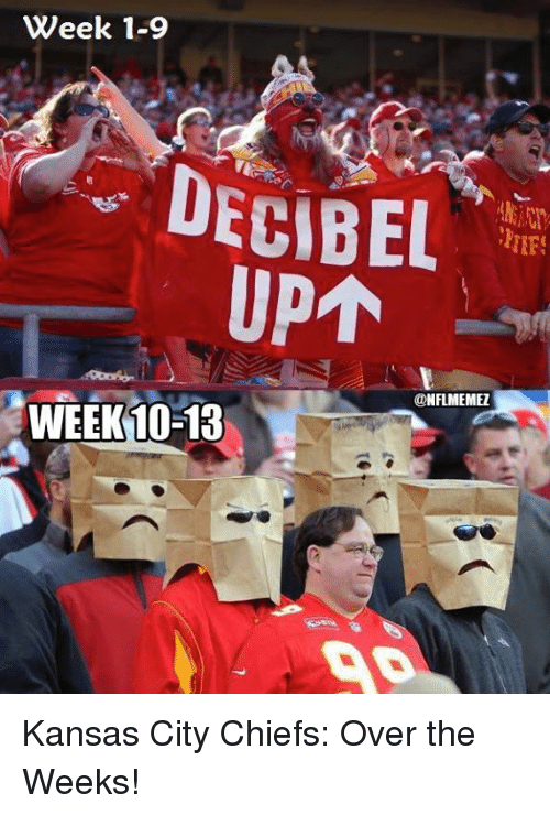 decibels: Week 1-9  DECIBEL  UPAN  NFLMEMEZ  WEEK 10-13 Kansas City Chiefs: Over the Weeks!
