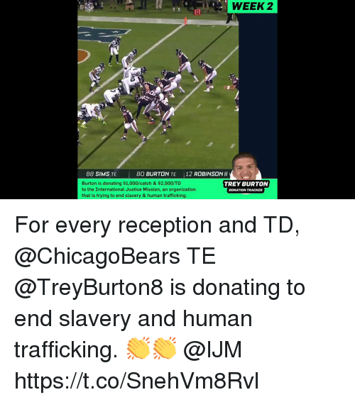 human trafficking: WEEK  2  88 SIMS TE  80 BURTON TE 12 ROBINSON Il  Burton is donating $1,000/catch & $2,500/TD  to the International Justice Mission, an organization  that is trying to end slavery & human trafficking  TREY BURTON  DONATION TRACKER For every reception and TD, @ChicagoBears TE @TreyBurton8 is donating to end slavery and human trafficking. 👏👏 @IJM https://t.co/SnehVm8Rvl