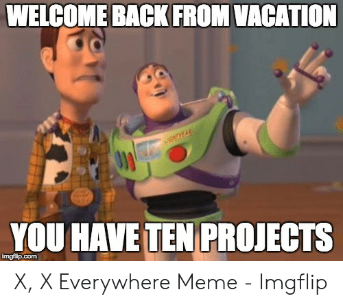 x x everywhere: WELCOME BACK FROM VACATION  YOU HAVE TEN PROJECTS  imgfilp.com X, X Everywhere Meme - Imgflip