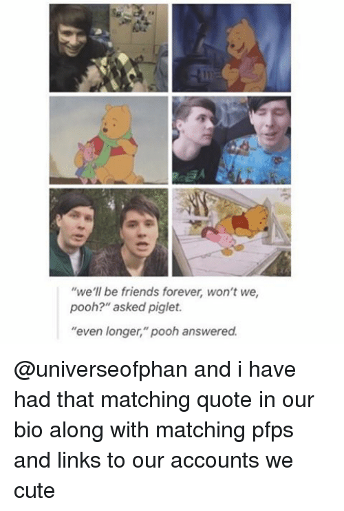 "Cute, Friends, and Memes: we'll be friends forever, won't we  pooh?"" asked piglet.  ""even longer,"" pooh answered. @universeofphan and i have had that matching quote in our bio along with matching pfps and links to our accounts we cute"