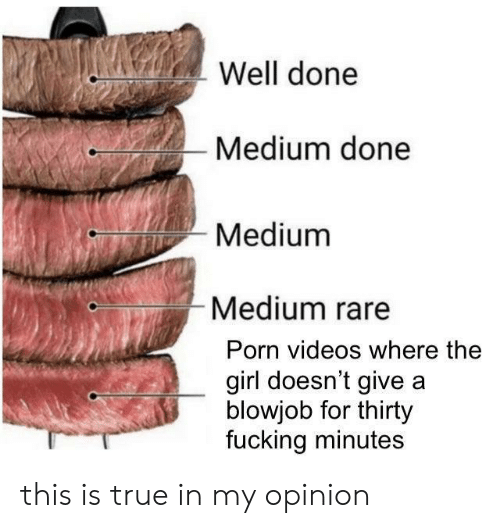 well done: Well done  Medium done  Medium  Medium rare  Porn videos where the  girl doesn't give a  blowjob for thirty  fucking minutes this is true in my opinion