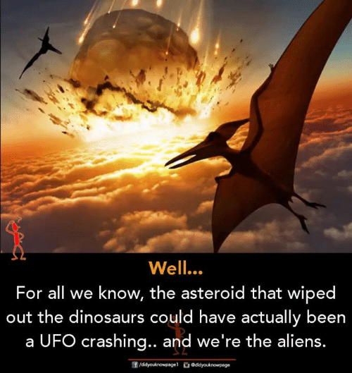wiped: Well.  For all we know, the asteroid that wiped  out the dinosaurs could have actually been  a UFO crashing.. and we're the aliens.