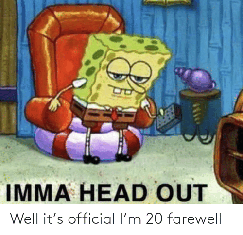 Official: Well it's official I'm 20 farewell