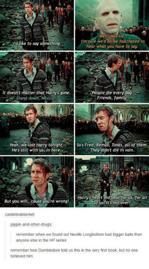 Dank, Pippin, and 🤖: Well Neville  Im sure we'd all be fascinated to  Id like to say something.  hear what you have to say  it doesn't matter that Harrys sone.  People die every day  Friends, family  Stand down, Neville!  Yeah, we lost Harry tonight. So's Fred, Remus, Tonks, all of them.  He's still with us in here  They didn't die in vain.  Harrys heart did beat for us for all  But you will cause youre wrong!  of us! It's not over!  castielinablanket  pippin-and-other-drugs  remember when we found out Neville Longbottom had bigger balls than  anyone else in the HP series  remember how Dumbledore told us this in the very first book, but no one  believed him