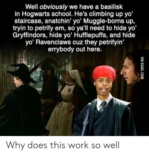 Tryin: Well obviously we have a basilisk  in Hogwarts school. He's climbing up yo'  staircase, snatchin' yo' Muggle-borns up,  tryin to petrify em, so ya'll need to hide yo'  Gryffindors, hide yo' Hufflepuffs, and hide  yo' Ravenclaws cuz they petrifyin'  errybody out here.  VIA 9GAG.COM Why does this work so well
