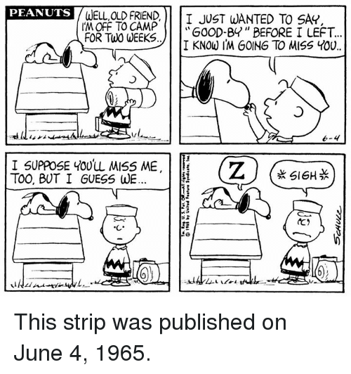 "Memes, Guess, and Old: WELL,OLD FRIEND)| I JUST WANTED TO SAY.  I'M OFF TO CAMP !  FOR TWo UEEGoOD-8"" BEFORE  PEANUTS  I KNOW I'M GOING TO MISS You  I SUPPOSE Youw 씨S5 ME  TOO, BUT I GUESS WE  k SI6HS This strip was published on June 4, 1965."