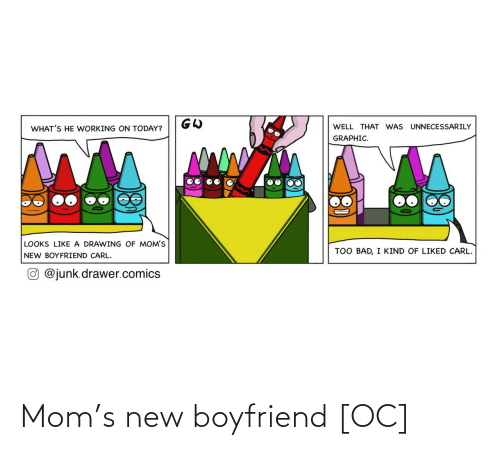 Boyfriend: WELL THAT WAS UNNECESSARILY  WHAT'S HE WORKING ON TODAY?  GRAPHIC.  LOOKS LIKE A DRAWING OF MOM'S  TOO BAD, I KIND OF LIKED CARL.  NEW BOYFRIEND CARL.  O @junk.drawer.comics Mom's new boyfriend [OC]