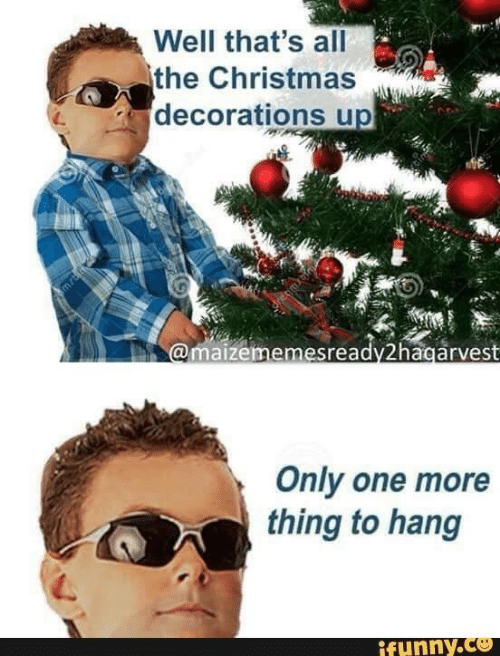 ifunny: Well that's all  the Christmas  decorations up  @maizememesready2hagarvest  Only one more  thing to hang  ifunny.co