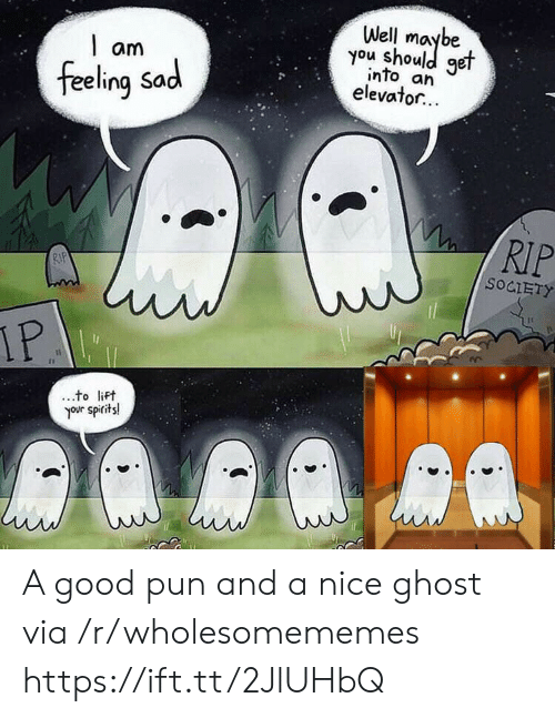 Ghost, Good, and Sad: Well  you shoule  get  am  into an  elevator...  feeling Sad  RIP  RIP  SOCIETY  IP  to lift  your spirits! A good pun and a nice ghost via /r/wholesomememes https://ift.tt/2JlUHbQ