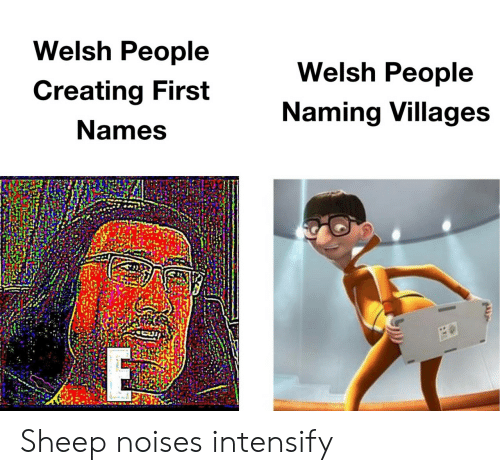 sheep: Welsh People  Welsh People  Creating First  Naming Villages  Names Sheep noises intensify