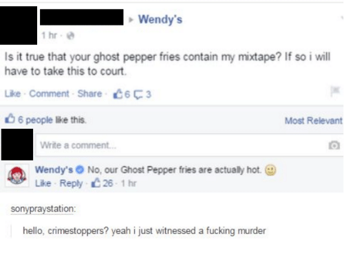 My Mixtap: Wendy's  1 hr  Is it true that your ghost pepper fries contain my mixtape? If so i will  have to take this to court.  Like Comment Share C6F3  6 people lke this.  Most Relevant  Write a comment...  Wendy's No, our Ghost Pepper fries are actualy hot.  Like Reply 26 1 hr  sony raystation  hello, crimestoppers? yeah i just witnessed a fucking murder