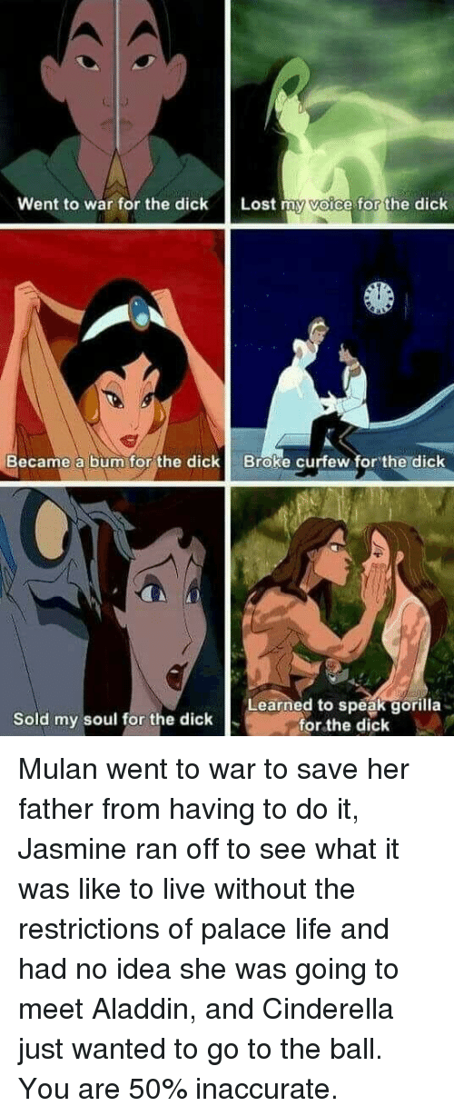 Aladdin, Cinderella , and Life: went to war for the dick  Lost  a forthe dick  Became a bum for the dickBroke curfew for the dick  Learned to speak gorilla  for the dick  Sold my soul for the dick <p>Mulan went to war to save her father from having to do it, Jasmine ran off to see what it was like to live without the restrictions of palace life and had no idea she was going to meet Aladdin, and Cinderella just wanted to go to the ball. You are 50% inaccurate.</p>