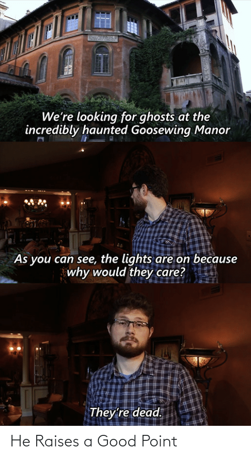 Incredibly: We're looking for ghosts at the  incredibly haunted Goosewing Manor  As you can see, the lights are on because  why would they care?  They're dead. He Raises a Good Point