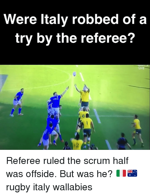 offside: Were ltaly robbed of a  try by the referee?  LiVE  2 Referee ruled the scrum half was offside. But was he? 🇮🇹🇦🇺 rugby italy wallabies