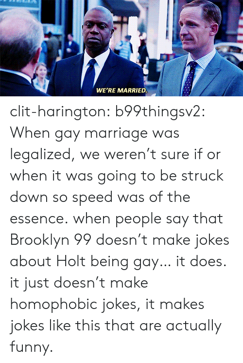 brooklyn 99: WE'RE MARRIED clit-harington: b99thingsv2:  When gay marriage was legalized, we weren't sure if or when it was going to be struck down so speed was of the essence.  when people say that Brooklyn 99 doesn't make jokes about Holt being gay… it does. it just doesn't make homophobic jokes, it makes jokes like this that are actually funny.