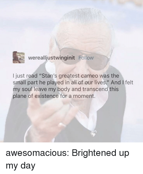 """Stans: werealljustwinginit Follow  I just read """"Stan's greatest cameo was the  small part he played in all of our lives."""" And I felt  my soul leave my body and transcend this  plane of existence for a moment. awesomacious:  Brightened up my day"""