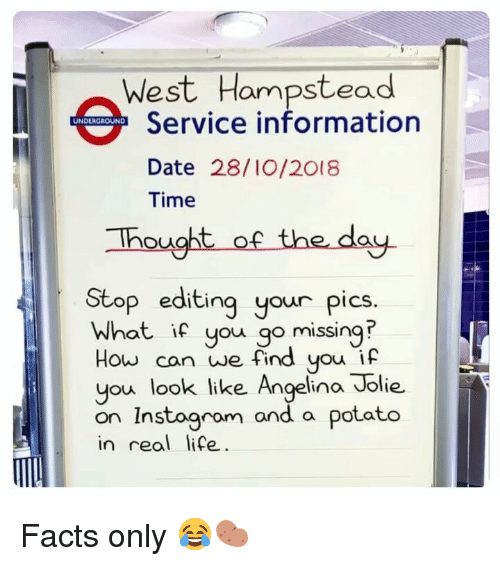 Angelina Jolie: West Hampstead  Service information  Date 28/I0/2018  Time  UNDERGROUND  hought of the day.  Stop editing your pics.  What if you go missing  How can we find you if  you look like Angelina Jolie.  on Instoaram and a  in real life  potato Facts only 😂🥔
