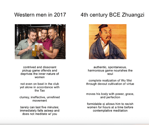 accordance: Western men in 2017  4th century BCE Zhuangzi  contrived and dissonant  pickup game offends and  deprives the inner nature of  women  authentic, spontaneous,  harmonious game nourishes the  soul  complete realization of Wu Wei  through devout cultivation of virtue  not even on beat in the club  yet alone in accordance with  the Tao  moves his body with power, grace,  and perfection  clumsy, ineffective, unrefined  movement  barely can last five minutes;  immediately falls asleep and  does not meditate w/ you  formidable qi allows him to ravish  women for hours at a time before  contemplative meditation
