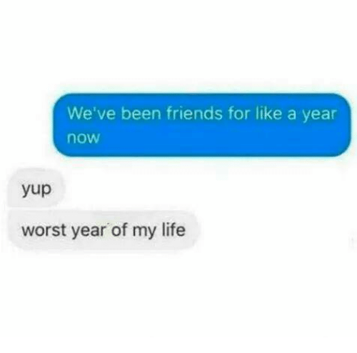 Friends, Life, and Memes: We've been friends for like a year  now  yup  worst year of my life