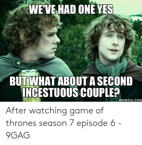 7 Episode 6: WEVE HAD ONE YES  BUT WHAT ABOUT A SECOND  INCESTUOUS COUPLER  MEMEFUL.COM After watching game of thrones season 7 episode 6 - 9GAG