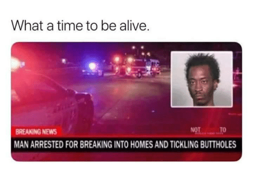 tickling: What a time to be alive  BREAKING NEWS  MAN ARRESTED FOR BREAKING INTO HOMES AND TICKLING BUTTHOLES