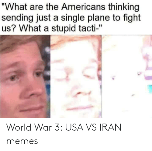 "usa: ""What are the Americans thinking  sending just a single plane to fight  us? What a stupid tacti-"" World War 3: USA VS IRAN memes"