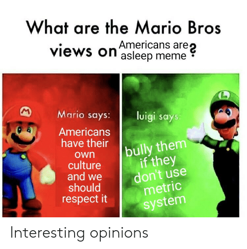 What Are The: What are the Mario Bros  are  views on asleep meme  M  Mario says:  luigi says:  Americans  have their  bully them  if they  don't use  metric  own  culture  and we  should  respect it  system Interesting opinions