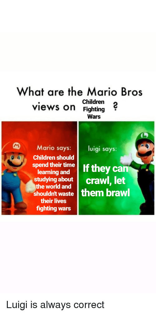 What Are The Mario Bros Children Views On Fighting Wars Mario Says