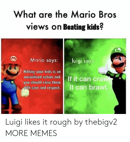 brawl: What are the Mario Bros  views on Beating kids?  Mario says:l  luigi says  Hitting your kids is an  you should raise them  ease and cesps  It can brawl Luigi likes it rough by thebigv2 MORE MEMES