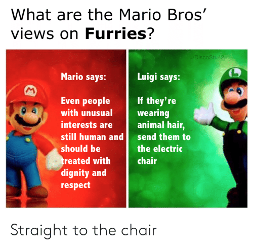 What Are The: What are the Mario Bros'  views on Furries?  u/DiscoStu42  Mario says:  Luigi says:  M  Even people  If they're  wearing  animal hair,  with unusual  interests are  still human and  send them to  should be  the electric  treated with  dignity and  respect  chair Straight to the chair