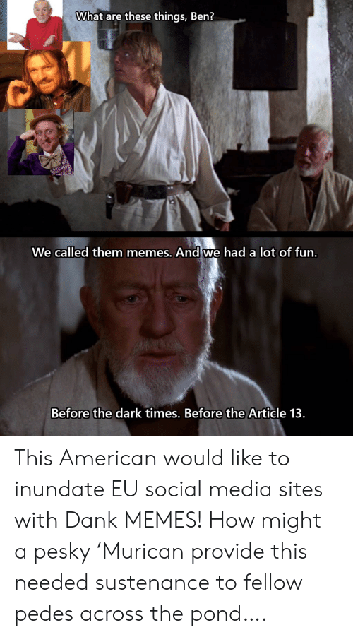 A Lot Of Fun: What are these things, Ben?  We called them memes. And we had a lot of fun.  Before the dark times. Before the Article 13 This American would like to inundate EU social media sites with Dank MEMES! How might a pesky 'Murican provide this needed sustenance to fellow pedes across the pond….