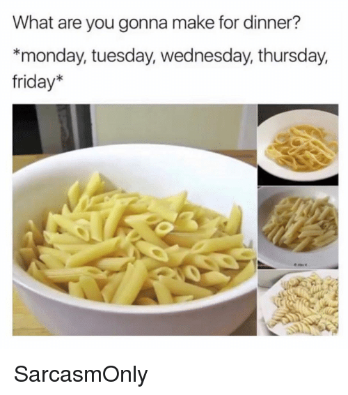 Friday, Funny, and Memes: What are you gonna make for dinner?  *monday, tuesday, wednesday, thursday,  friday* SarcasmOnly