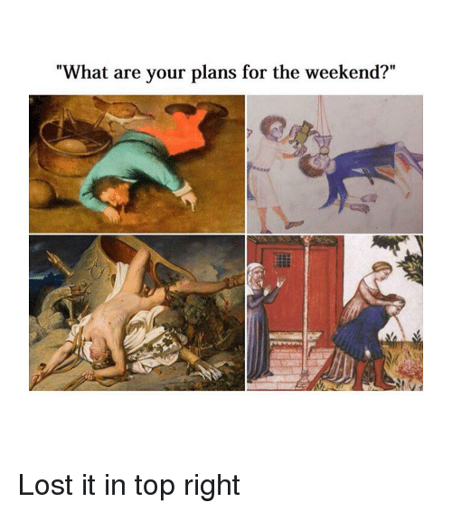 "Lost, The Weekend, and Classical Art: ""What are your plans for the weekend?"" Lost it in top right"