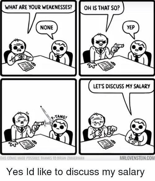 tang: WHAT ARE YOUR WEAKNESSESOH IS THAT SO?  NONE  YEP  LET'S DISCUSS MY SALARY  TANG  MRLOVENSTEIN.COM  THIS COMİC MADE POSSIBLE IHANKS 10 BRIAN ZĪMMİRMAN Yes Id like to discuss my salary