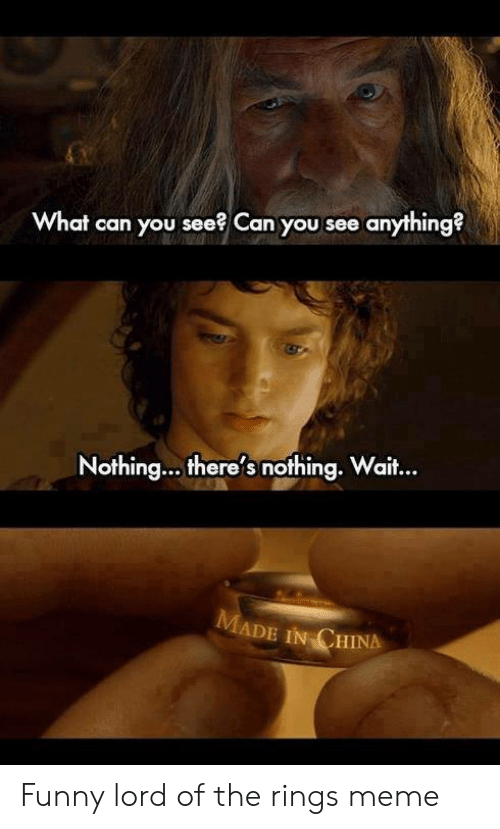 Funny Lord Of The Rings: What can you see? Can you see anything?  Nothing... there's nothing. Wait..  aif...  ADE IN CHINA Funny lord of the rings meme