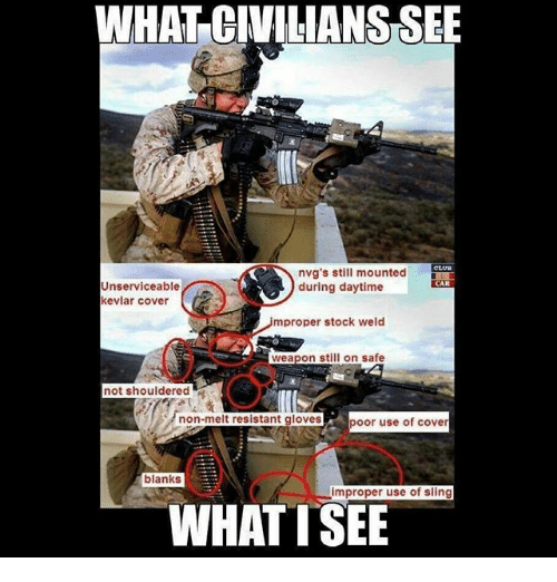Improper: WHAT CIVILIANS SEE  Unserviceable  kevlar cover  nvg's still mounted  during daytime  CAR  mproper stock weld  0  weapon still on safe  not shouldered  poor use of cover  blanks  improper use of sling  WHATTSEE