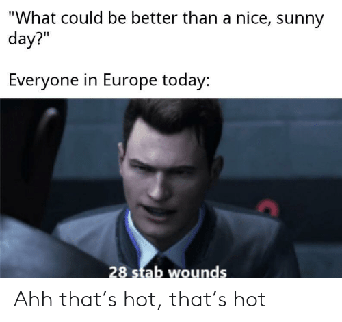 """Europe, Today, and Nice: """"What could be better than a nice, sunny  day?""""  Everyone in Europe today:  28 stab wounds Ahh that's hot, that's hot"""
